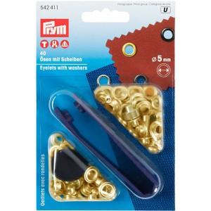 Ösen und Scheiben 5mm, golgfarbig