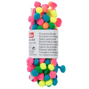 Pompons-Borte, 20mm/2m, mehrfarbig