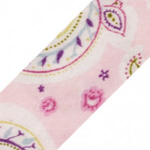 Schrägband Paisleymuster rosa 18 mm VE1m