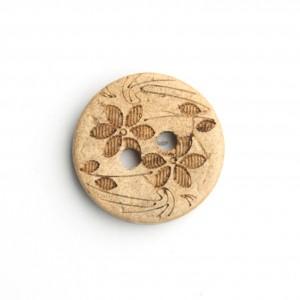 Kokosnuss Knopf Größe 15 mm Blume