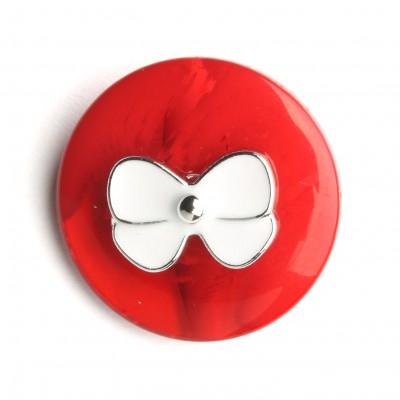 Knopf mit Schleife 21 mm, Rot